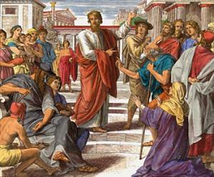 Paulus predigt in Athen